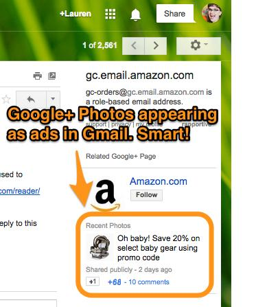 Email containing a photo from Google Plus in the email sidebar.