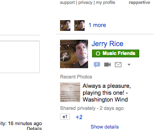 Google Plus photo is shared in the email sidebar when you've circled the contact.